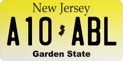 NJ license plate A10ABL