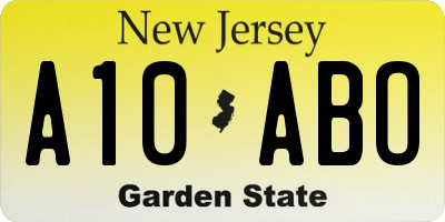 NJ license plate A10ABO