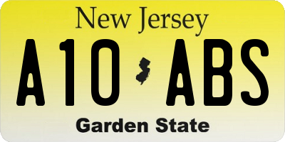 NJ license plate A10ABS