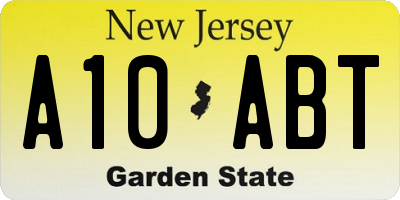 NJ license plate A10ABT