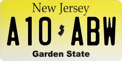 NJ license plate A10ABW