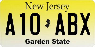 NJ license plate A10ABX