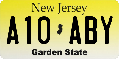 NJ license plate A10ABY