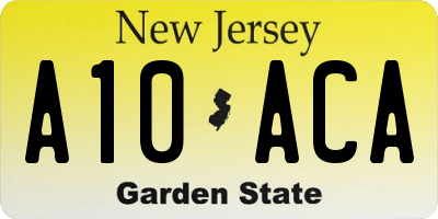 NJ license plate A10ACA