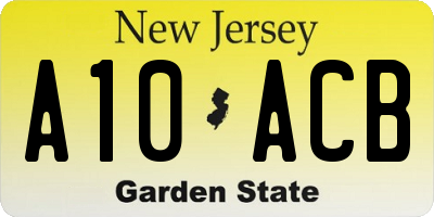 NJ license plate A10ACB