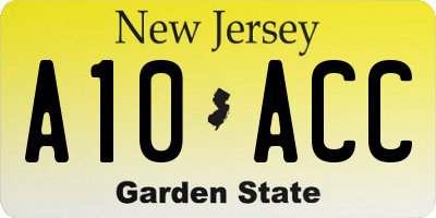 NJ license plate A10ACC