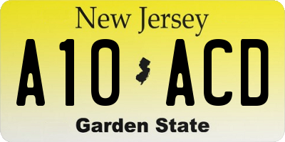 NJ license plate A10ACD
