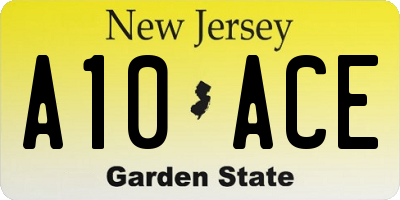 NJ license plate A10ACE