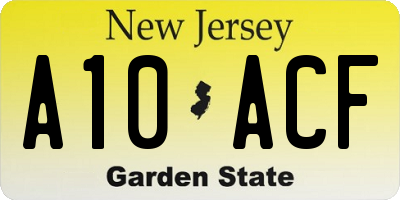 NJ license plate A10ACF