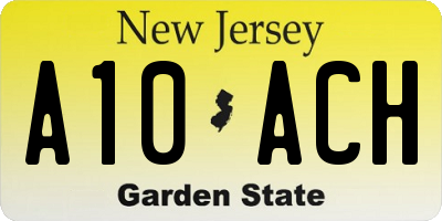 NJ license plate A10ACH