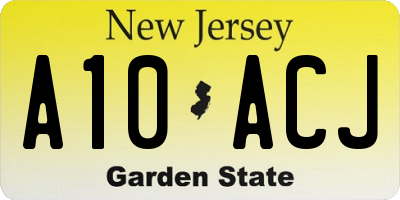 NJ license plate A10ACJ