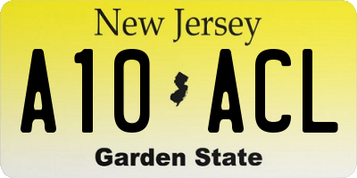 NJ license plate A10ACL