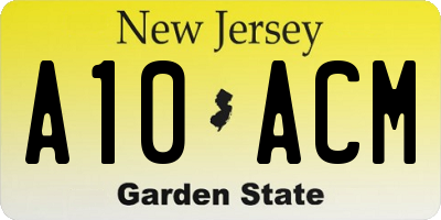 NJ license plate A10ACM