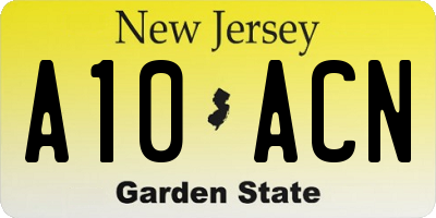 NJ license plate A10ACN