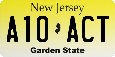 NJ license plate A10ACT