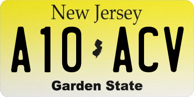 NJ license plate A10ACV
