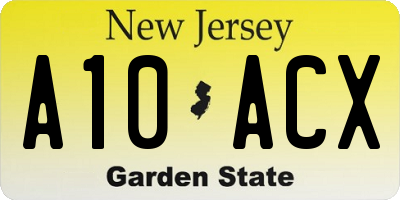 NJ license plate A10ACX