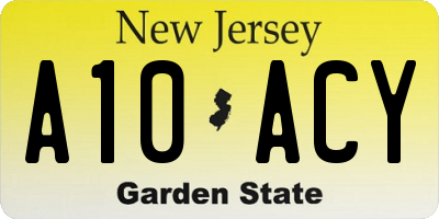 NJ license plate A10ACY