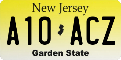 NJ license plate A10ACZ