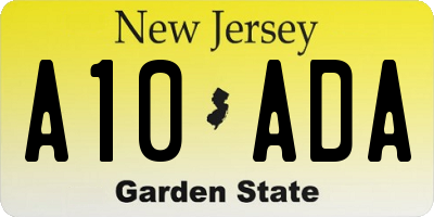 NJ license plate A10ADA