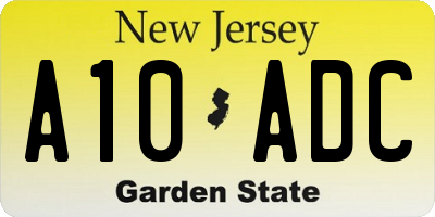 NJ license plate A10ADC