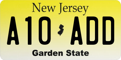NJ license plate A10ADD