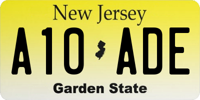 NJ license plate A10ADE