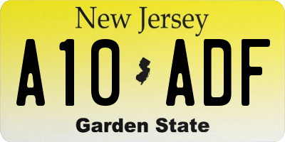NJ license plate A10ADF