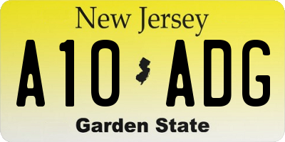 NJ license plate A10ADG