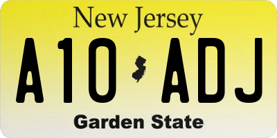 NJ license plate A10ADJ