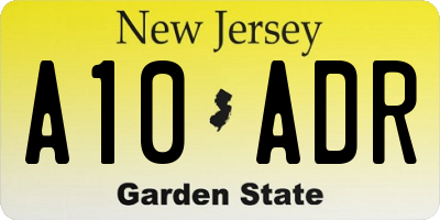 NJ license plate A10ADR