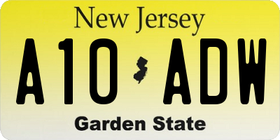 NJ license plate A10ADW