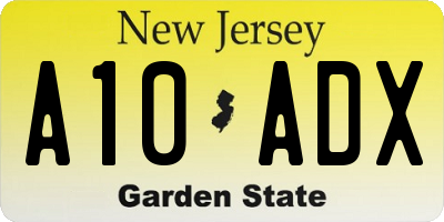 NJ license plate A10ADX