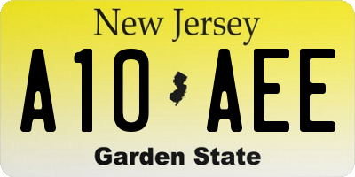 NJ license plate A10AEE