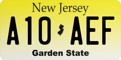 NJ license plate A10AEF
