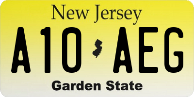 NJ license plate A10AEG