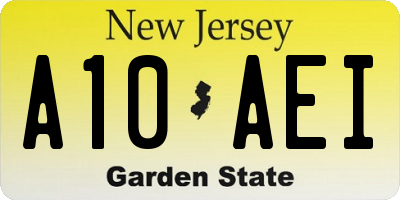 NJ license plate A10AEI