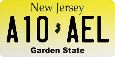 NJ license plate A10AEL