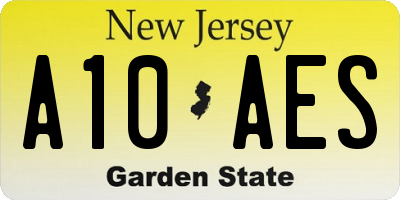 NJ license plate A10AES
