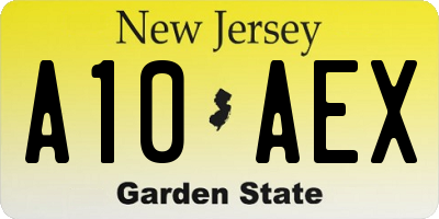 NJ license plate A10AEX