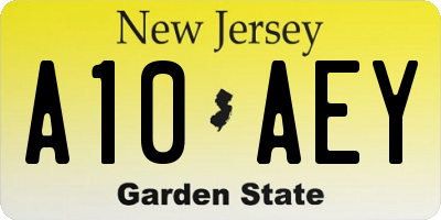 NJ license plate A10AEY