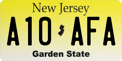 NJ license plate A10AFA