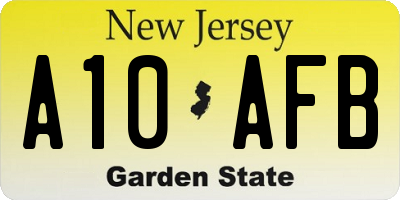 NJ license plate A10AFB