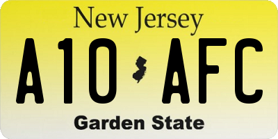 NJ license plate A10AFC