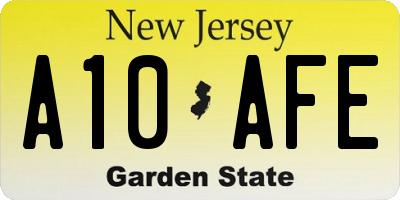 NJ license plate A10AFE