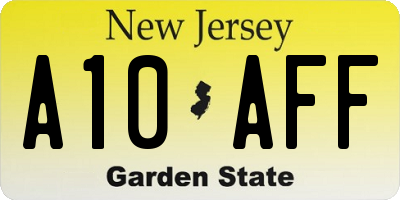 NJ license plate A10AFF