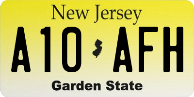NJ license plate A10AFH