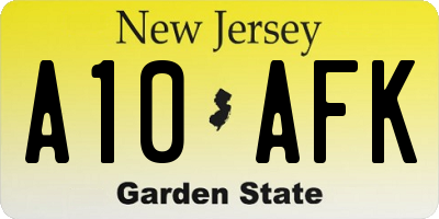 NJ license plate A10AFK