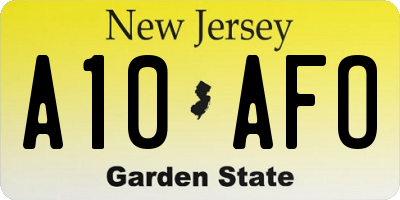 NJ license plate A10AFO