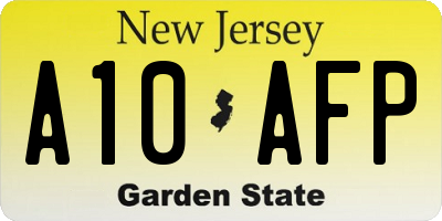 NJ license plate A10AFP